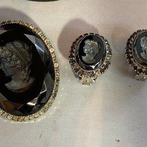 Hobe Vintage Signed Cameo Earrings & Pin